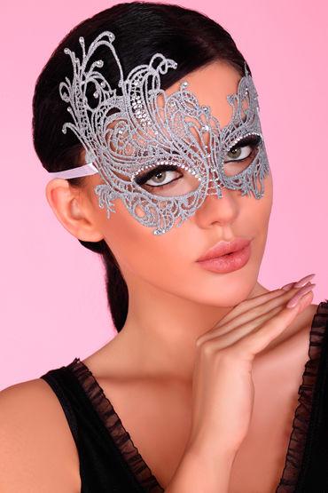 LivCo Corsetti Mask Model 1 Silver, серебристая Ажурная маска со стразами маска livia corsetti mask maroon model 3 бордовый