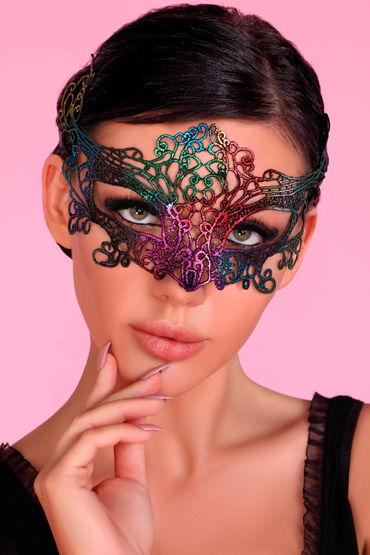 LivCo Corsetti Mask Model 2 Rainbow, радужная Ажурная маска на глаза